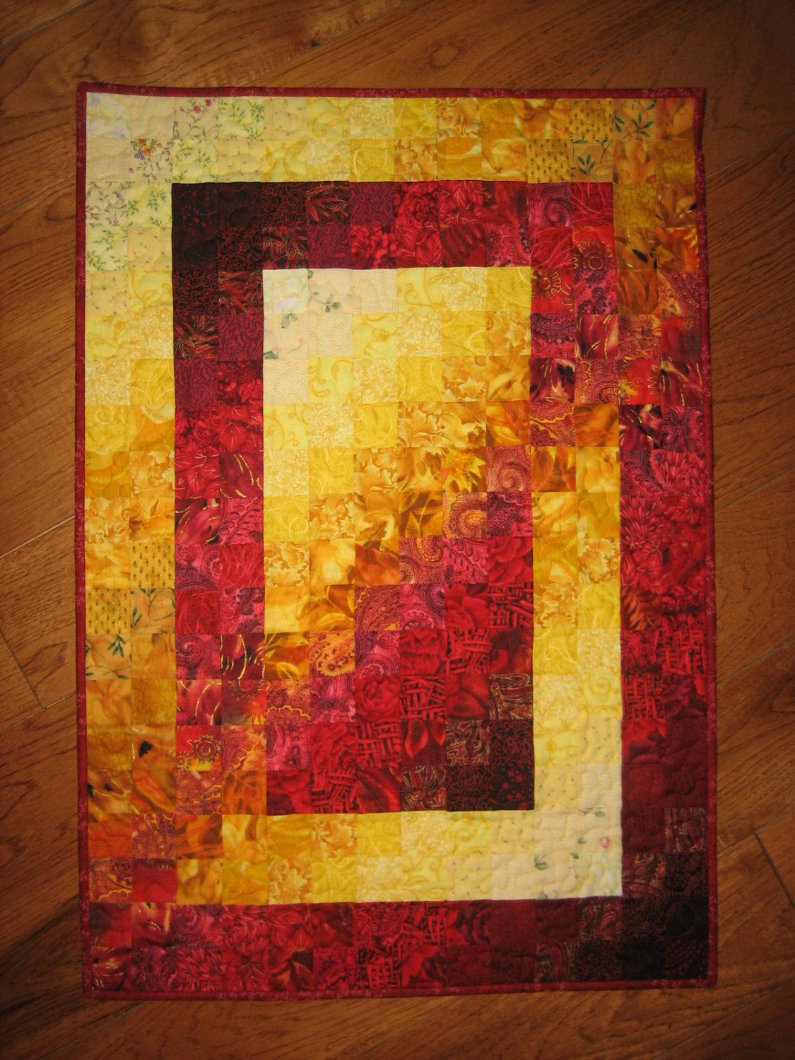 Art Quilt Red Yellow Watercolor Fabric Wall Hanging