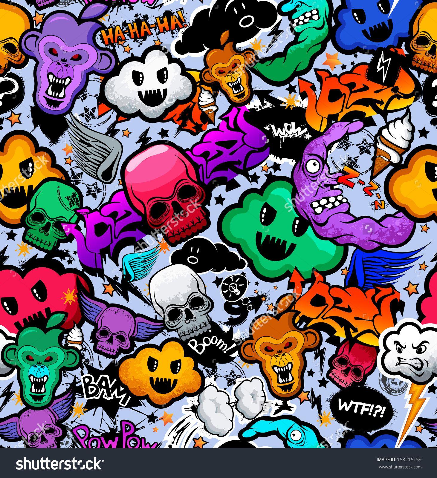 stock-vector-graffiti-cartoon-bizarre-funky-characters-seamless ...