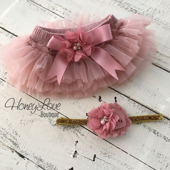 4b5cde31 SET Vintage Pink Dusty Rose Mauve tutu skirt bloomers diaper cover ...