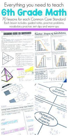 6th Grade Math Guided Notes | Classroom Ideas | Sixth grade math