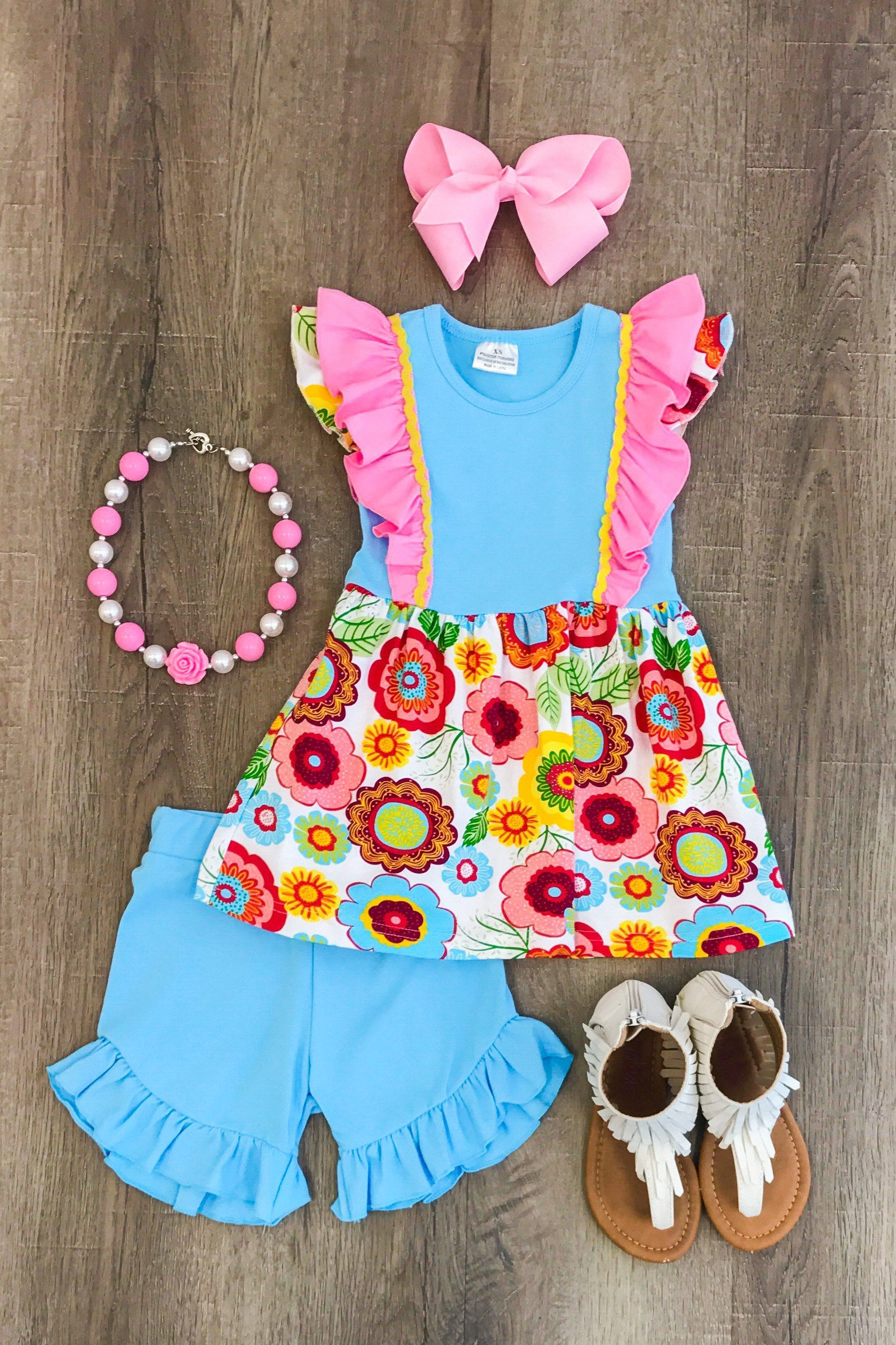 Happy Blossoms Ruffle Short Set Baby Clothes Boy Girl