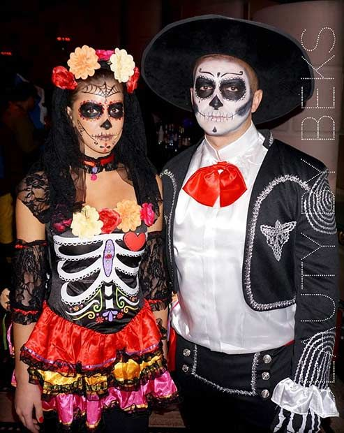 sugar skull couple halloween costume idea