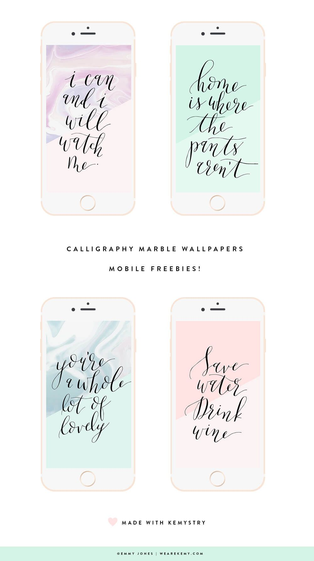 Download Your Free Wallpapers, Choose From Four Calligraphy Quotes With  Marble Textures.   We