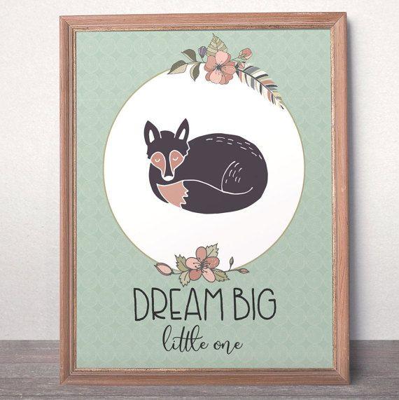 Woodland nursery art Dream Big  printable art Foxy by AlniPrints #print #floral #download #love #decor #kidsroom #nursery #babygirl #quote #inspiration