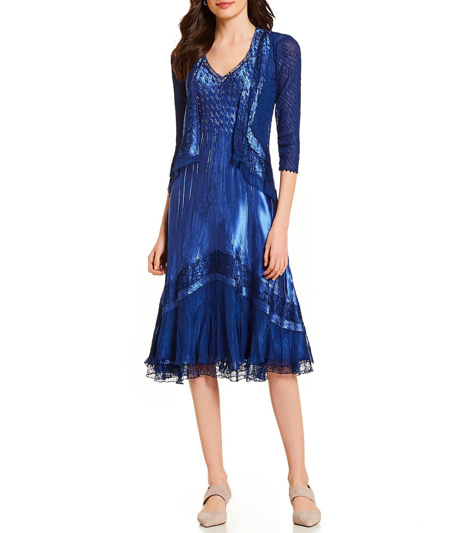 Komarov 3 4 Sleeve Jacket Ombre Lace Detail V Neck Midi Dress Dillard S V Neck Midi Dress Dresses Necklines For Dresses [ 2040 x 1760 Pixel ]