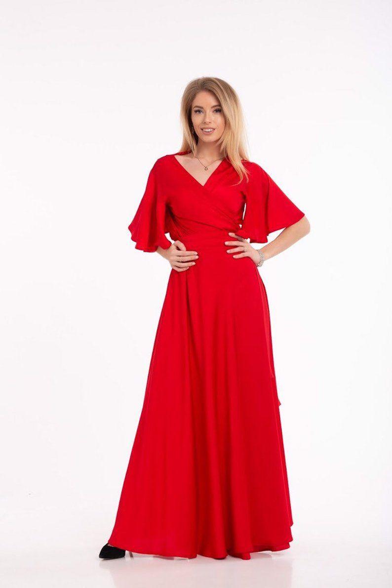 Beige-Party-Kleid flattern Ärmel Kleid Boho Kleid langes  Etsy