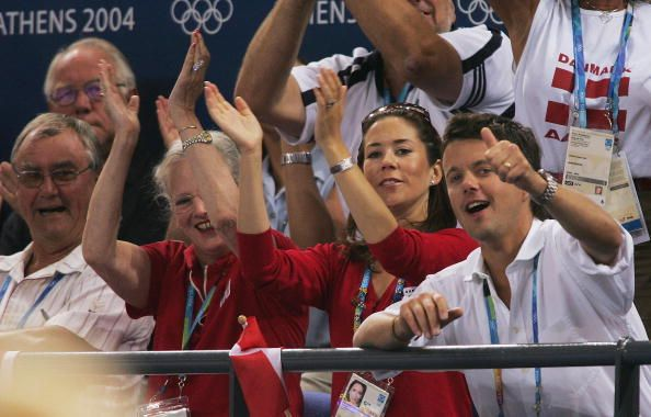 Members of the Danish Royal Family Prince Henrik Queen Margrethe Crown Princess Mary and Crown Prince Frederick watch the action during the women's...