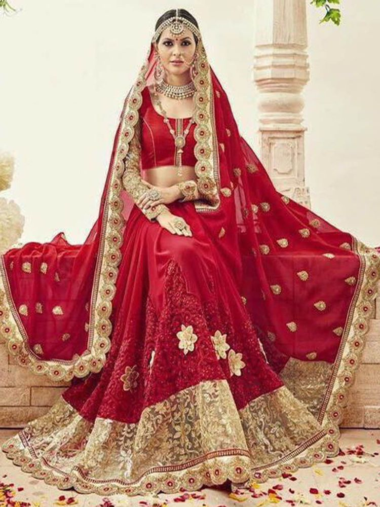 Red Saree Designer Blouse Embroidery Indian Bollywood Stylish