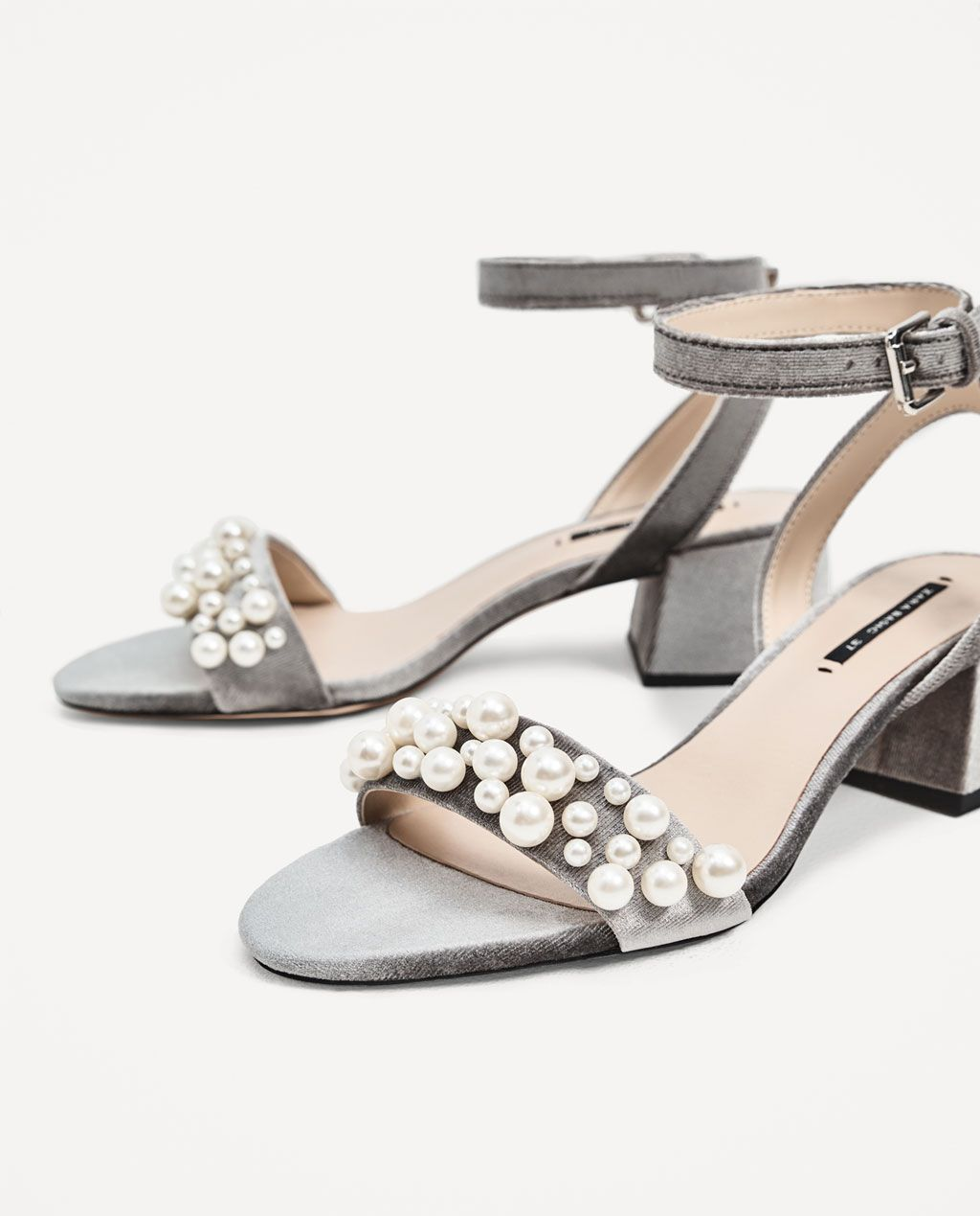 VELVET HIGH HEEL SANDALS WITH PEARL APPLIQUÉ - View all-SHOES-WOMAN