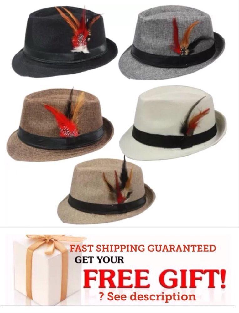 Men Women Unisex Fedora Hat Trilby Cuban Style Upturn Short Brim Cap Hat Panama