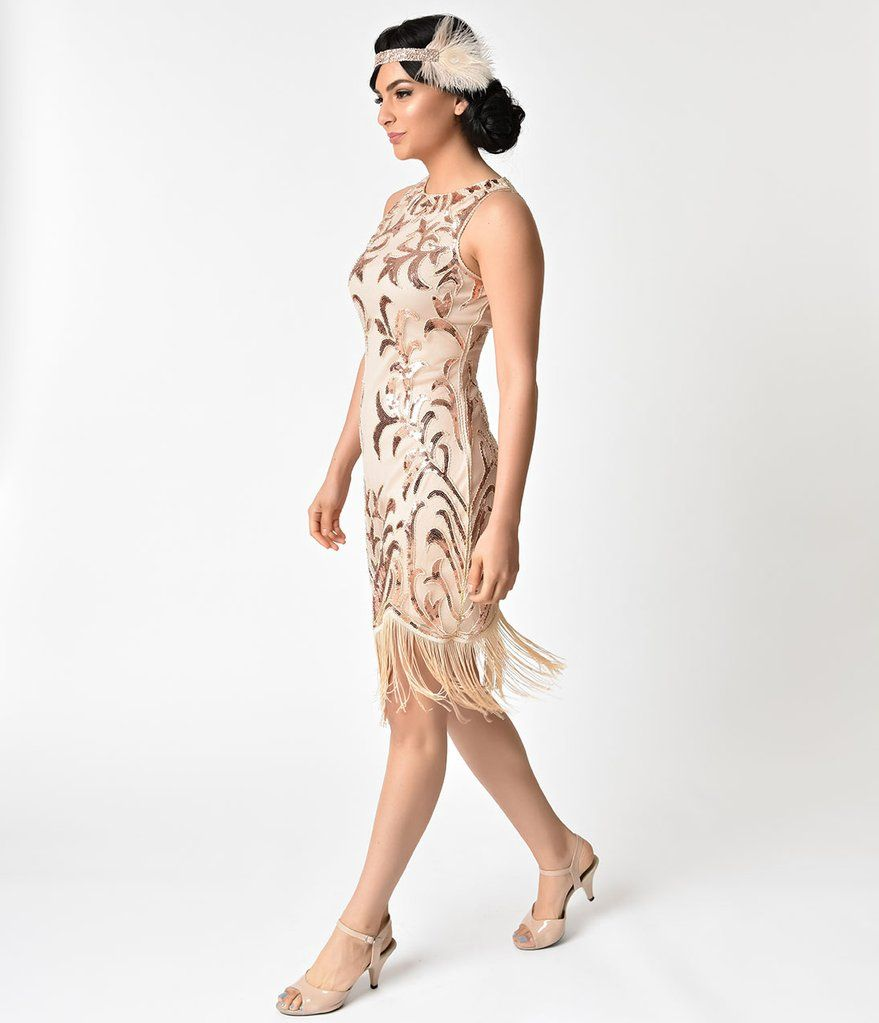 b0791fbfc59 Unique Vintage 1920s Rose Gold Sequin Nikita Flapper Dress