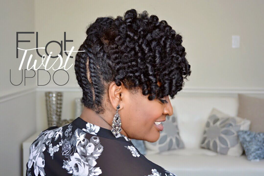 Simple Flat Twist Updo On Natural Hair