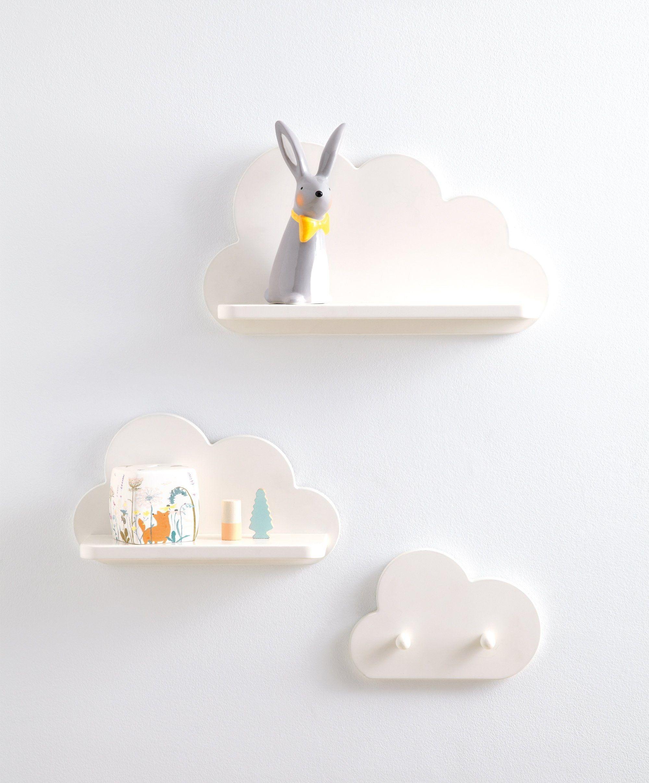 White Cloud Shelves And Coat Hook Set Baby Room Design