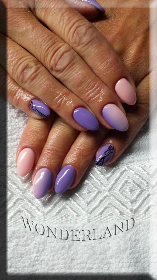 ombre gel nails, wonderland cardiff, nail extensions, acrylic nails, nail design, nail art, summer nails, crystals, pointy nails