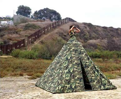 """The """"Ms. Homeland Security: Illegal Entry Dress Tent,"""" by Robin Lasser and Adrienne Pao"""