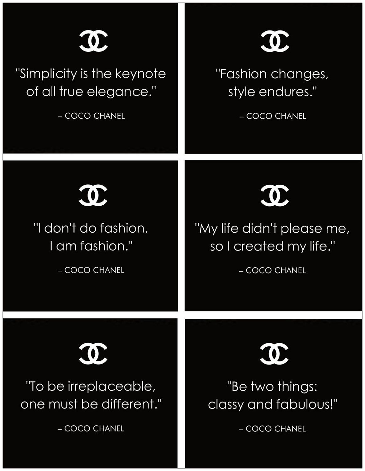 Famous COCO CHANEL Quotes: 10 Sheets of Craft   Scrapbook