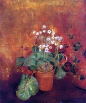 Flowers in a Pot on a Red Background by Odilon Redon  Canvas Art Print Flowers Flowers in a Pot on a Red Background by Odilon Redon  Canvas Art Print Flowers in a Pot on...