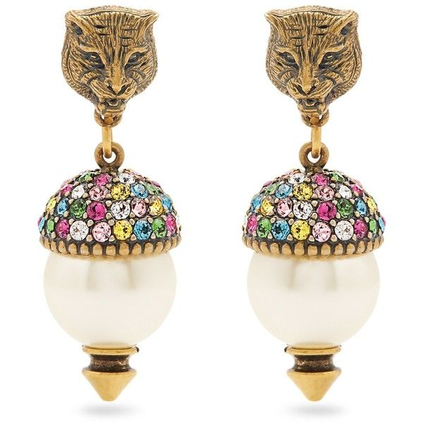 5da6fdbc920 Gucci Feline pearl-effect embellished earrings (10.293.720 VND) ❤ liked on  Polyvore featuring gucci