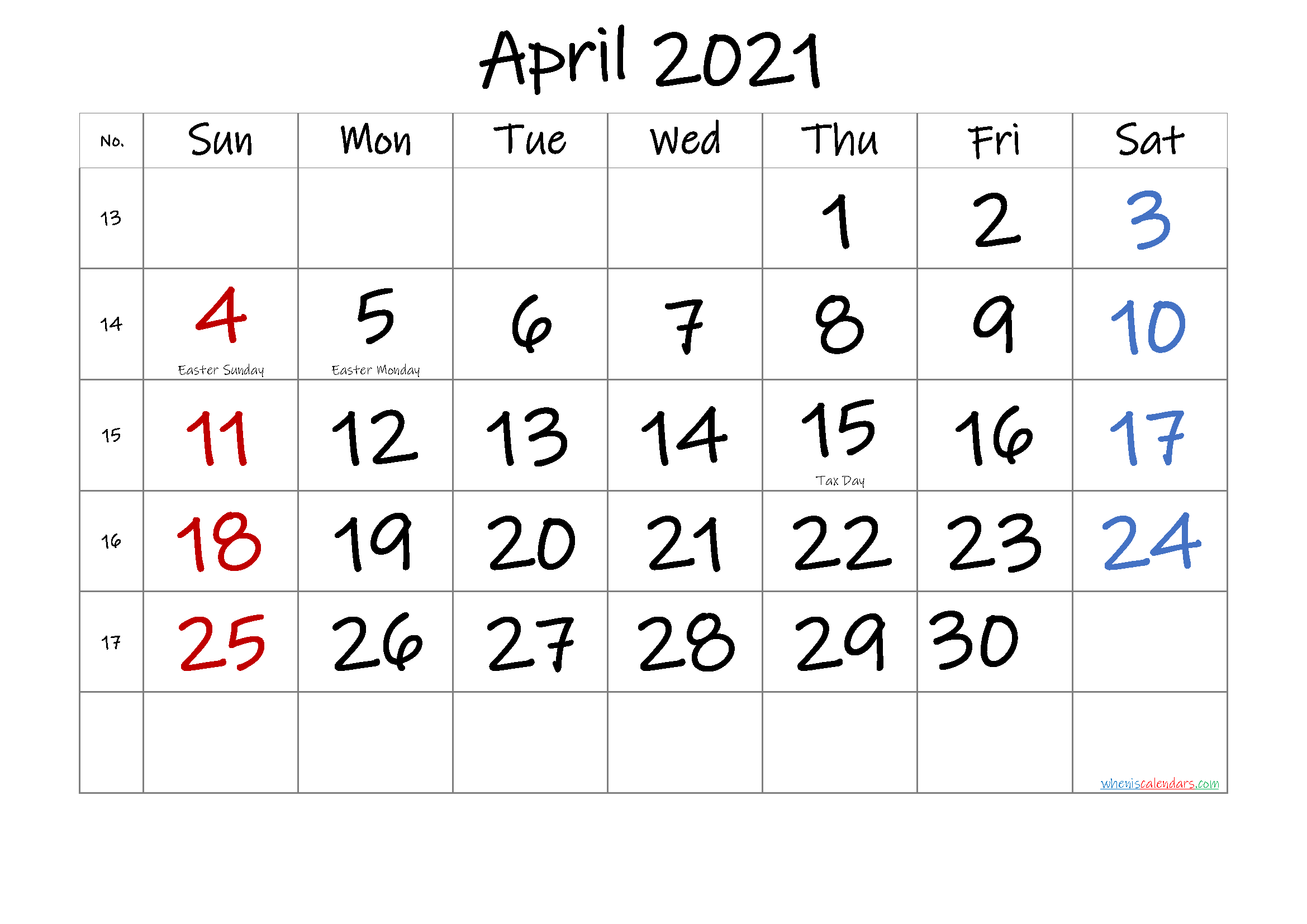 Free Printable April 2021 Calendar In 2020 Calendar Printables 2021 Calendar Printable Calendar Template