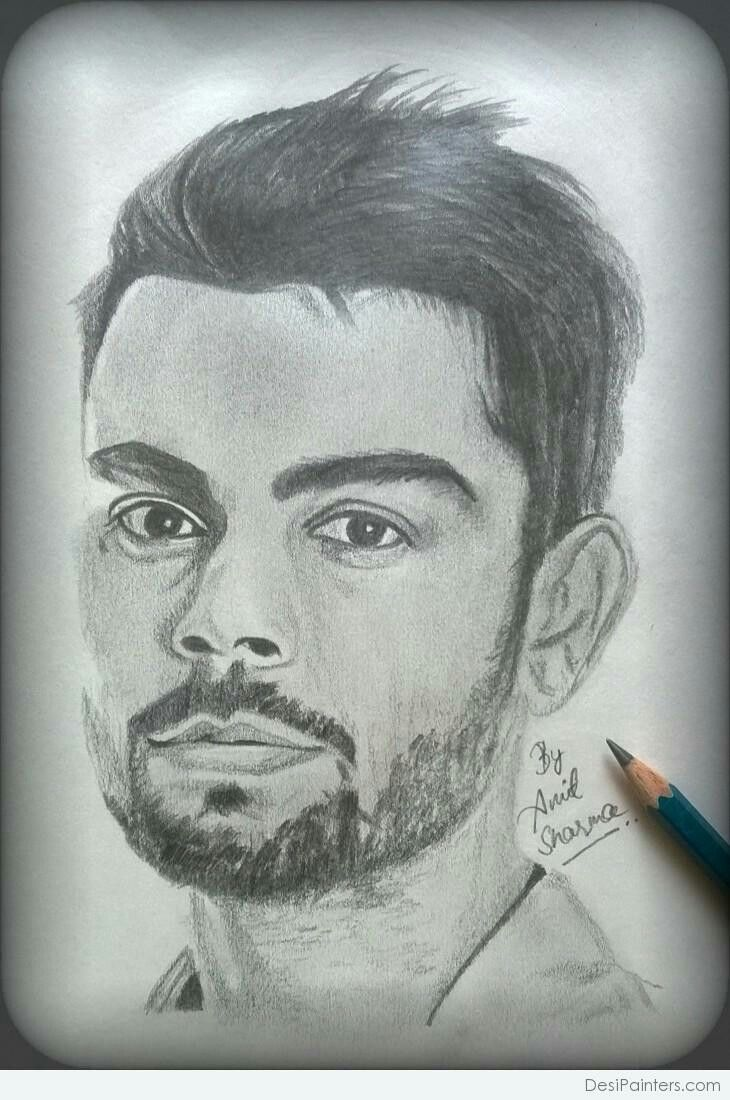 Anil sharmas drawing vk pencil sketch drawing pencil drawings virat kohli
