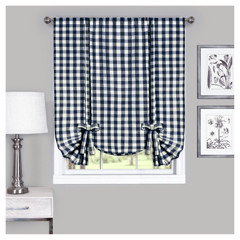 Buffalo Check Window Curtain Tie Up Shade Navy (Blue) (42\
