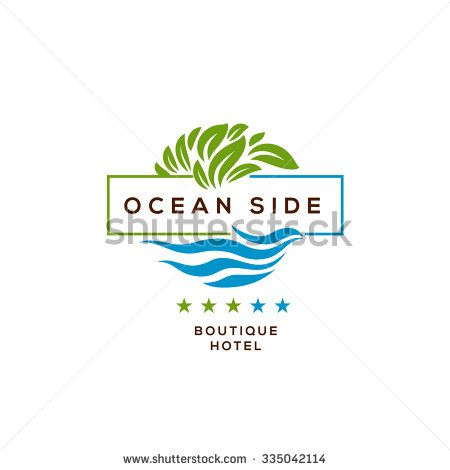 Logo for boutique hotel, ocean view resort, logo design, vector ...