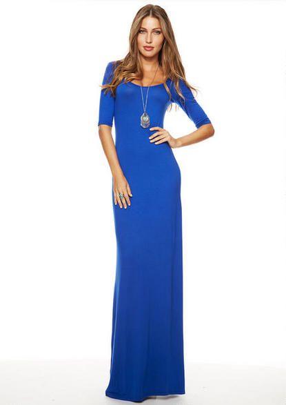 Elbow sleeve knit maxi dress