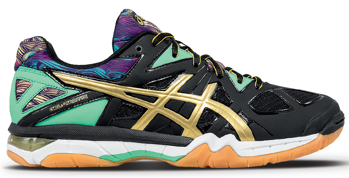 475989ef87e6 Asics Women s Gel-Tactic Kerri Walsh Collection Special Edition Volleyball  Shoe (Black Gold Electric Blue) - Real Volleyball