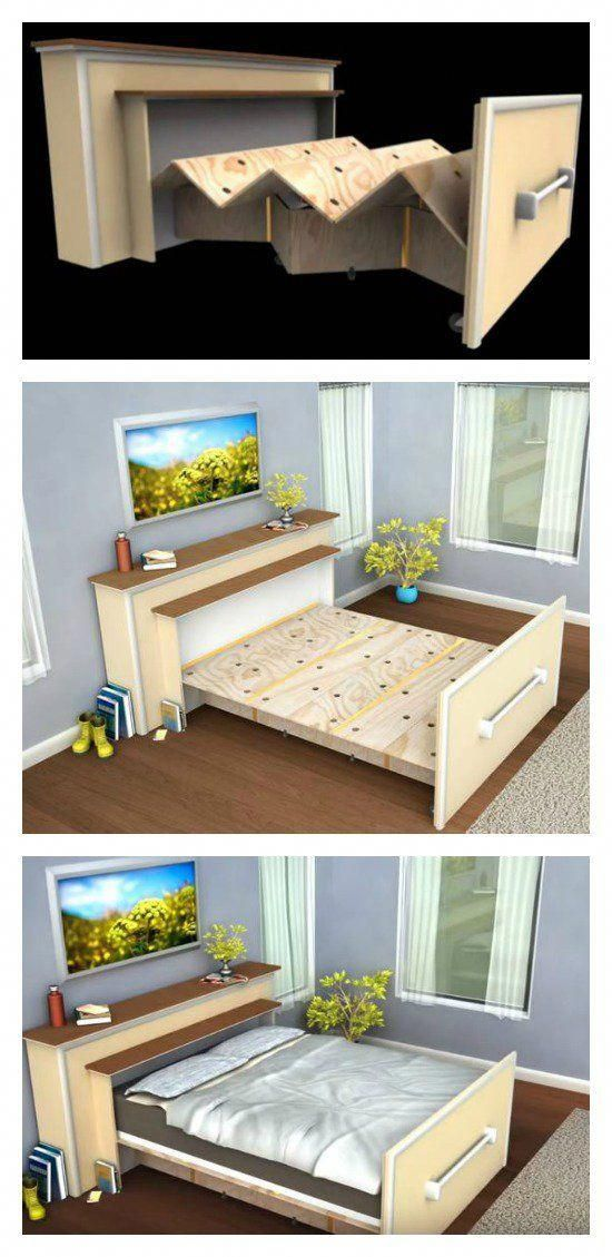Build A Diy Built In Roll Out Bed To Save Space Murphybedplanshowtobuild Diy Maison Meuble