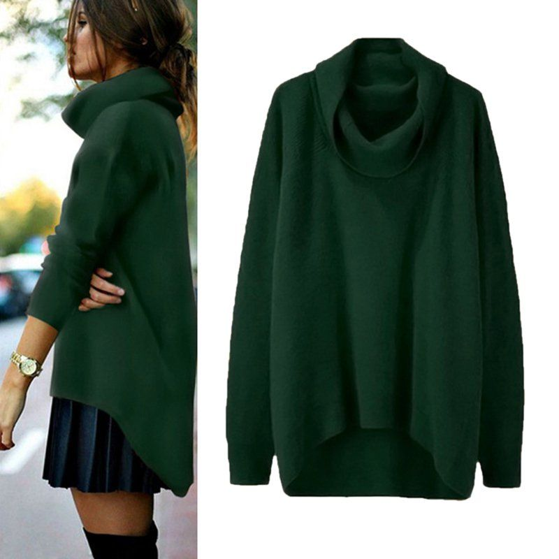 Women Knitted Sweater long Sleeve Turtleneck Pullovers Coat Outfit Casual Outwear