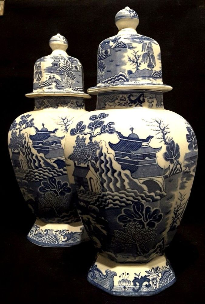 Masons Ironstoneenglandblue Willowantiquehall Vases121