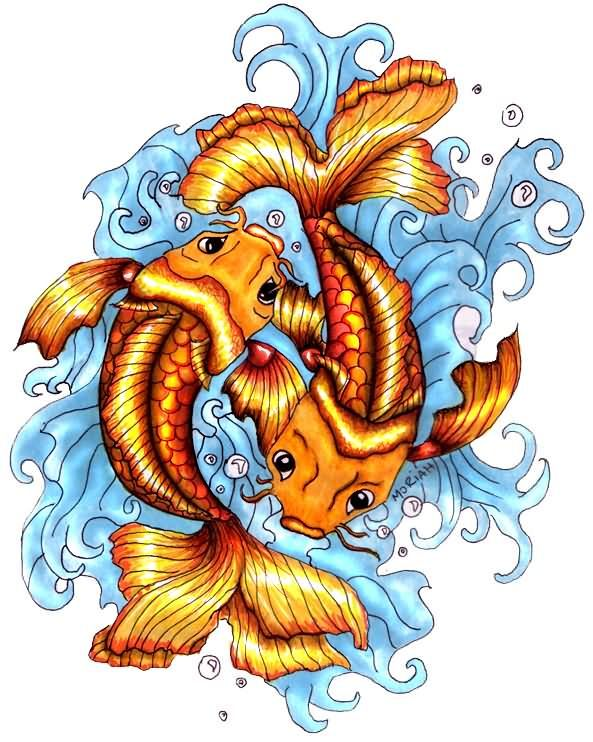 Koi Fish Pisces Tattoo Design Interests For Tattoos Pinterest
