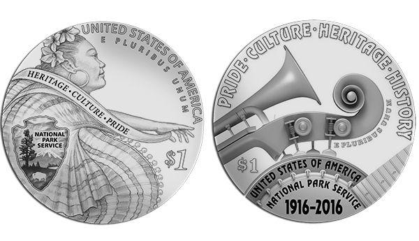 $1 Silver Design for 2016 National Park Service 100th Anniversary Commemorative Coin Program