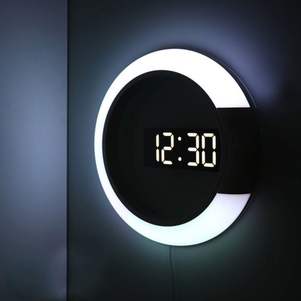 3d Led Digital Table Clock Alarm Mirror Hollow Wall Watch Clock Modern Design Nightlight For Home Living Room Decorations In 2020 Digital Table Clock Wall Clock Modern Led Wall Clock