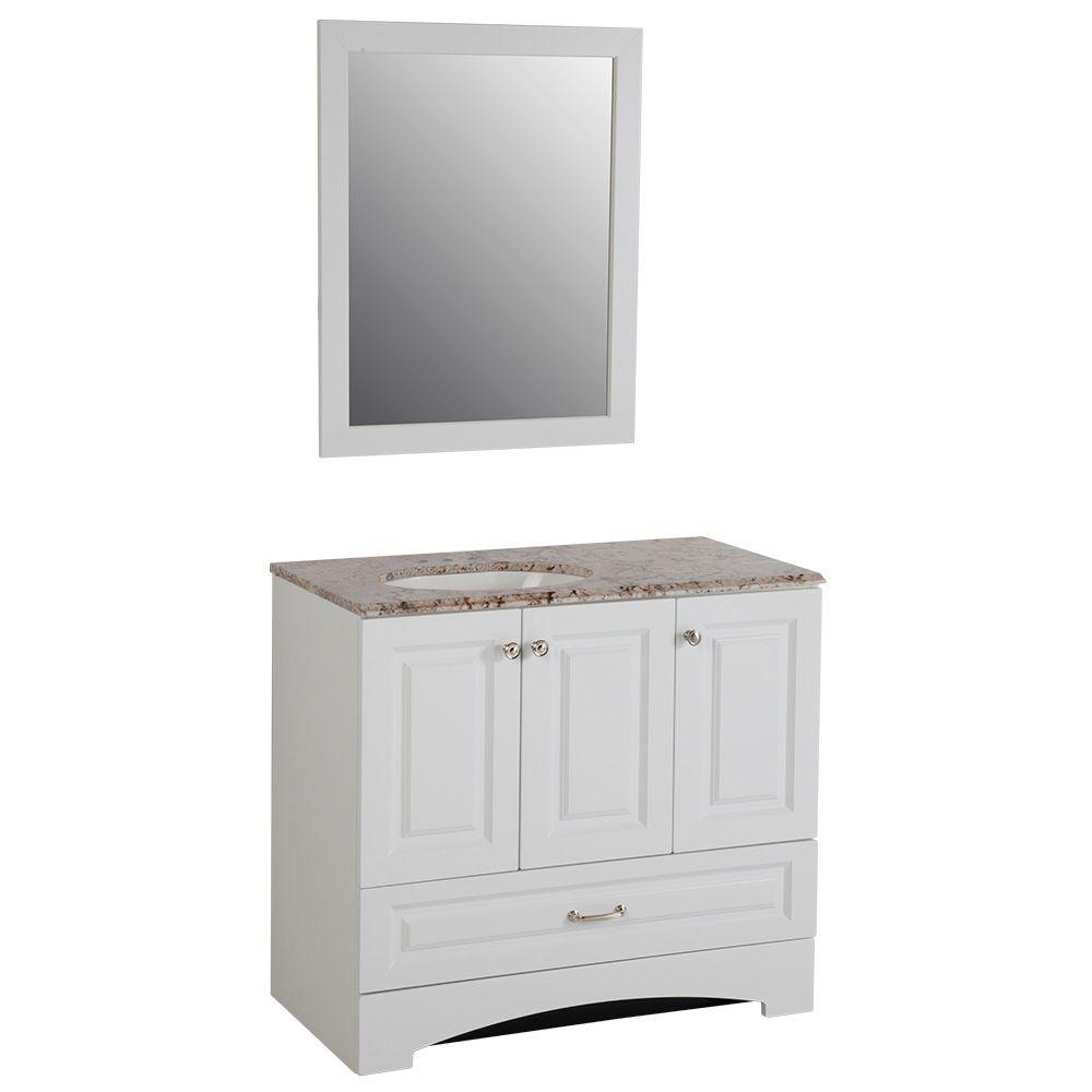 Glacier Bay Stafford 36 In Vanity In White And Stone Effects With Vanity Top In Rustic Gold And Mirror Sa36p3com Wh The Home Depot Vanity Top Powder Room Decor Lake House Bathroom