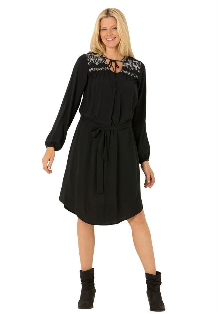 Plus size woman within embroidered yoke shirt dress blackx