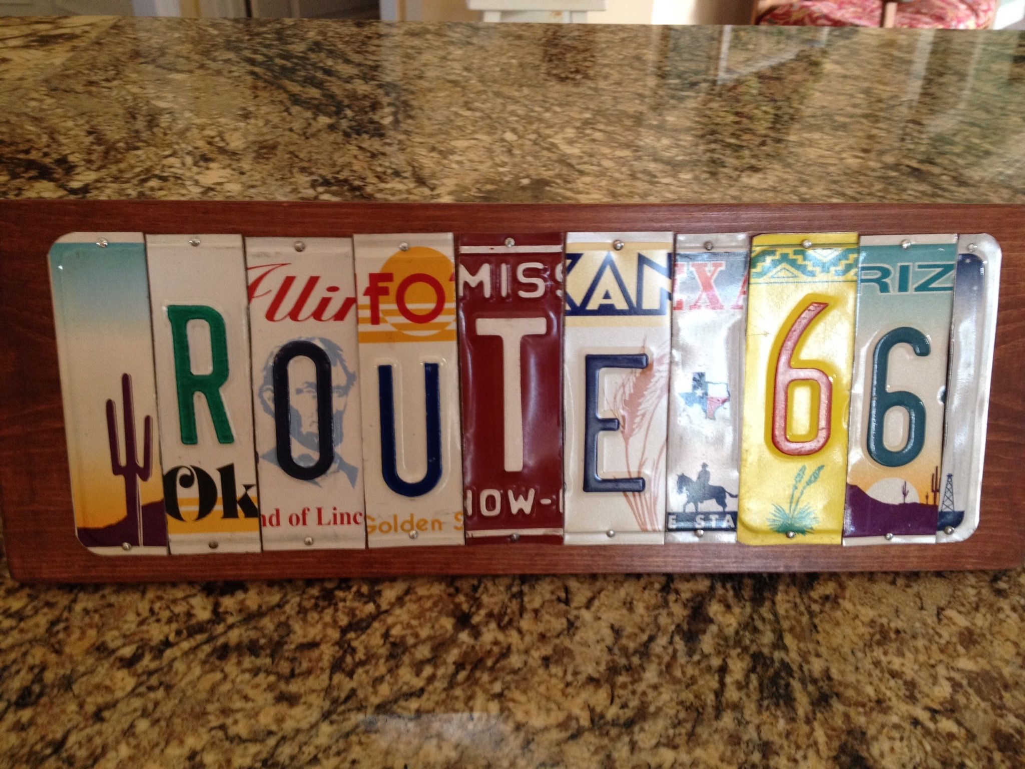 Route 66 sign I made from old license plates for my son who lives in ...