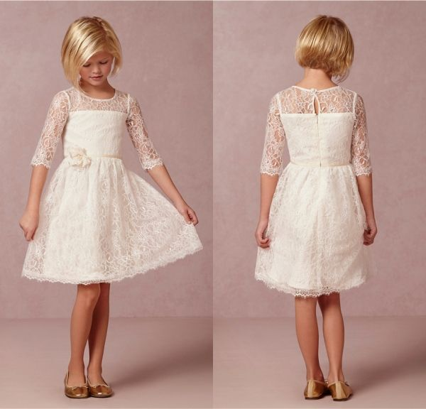 Barato 2015 destaque do laço do Vintage vestidos menina com mangas ...