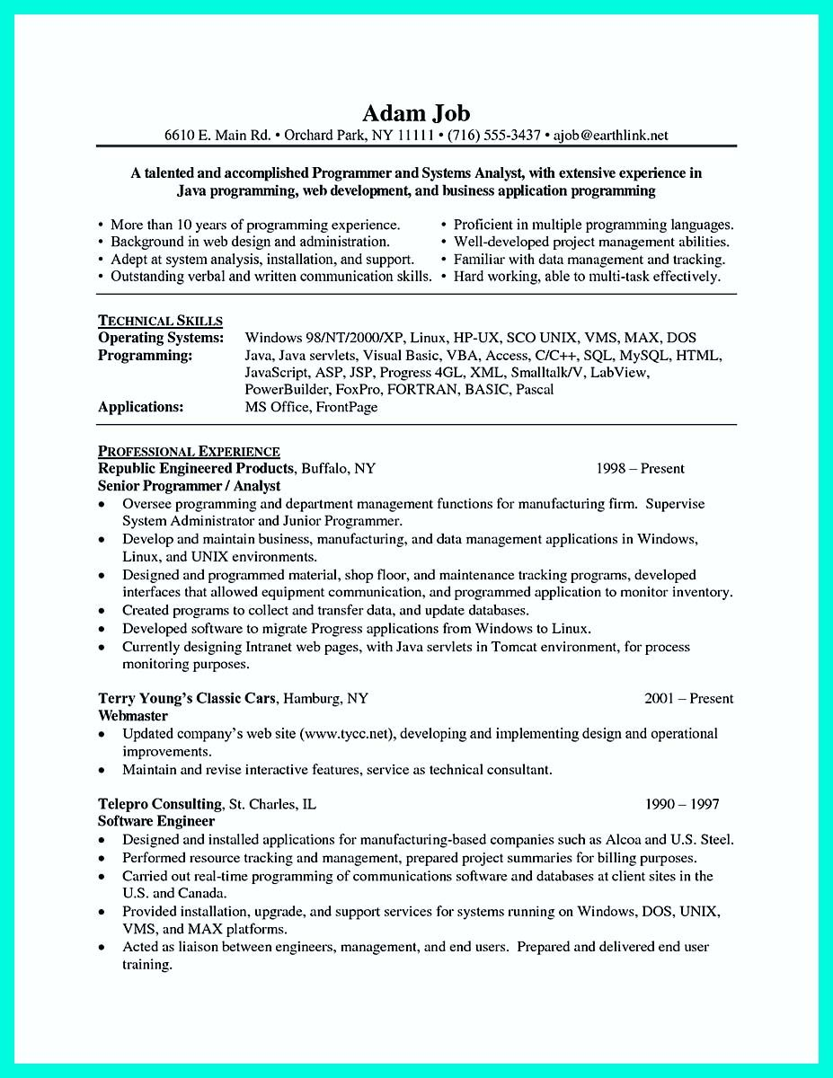 Technical Skills For Resume Nice Computer Programmer Resume Examples To Impress Employers