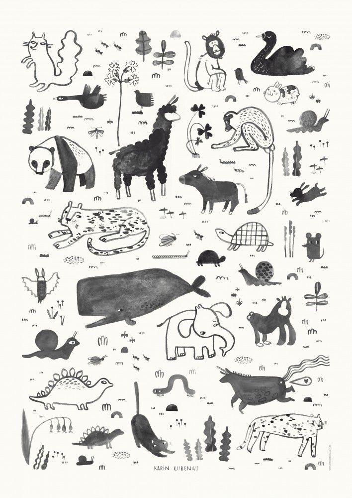 Tiere Poster Illustration Von Karin Lubenau Tierillustration Tierillustrationen Grafische Illustration