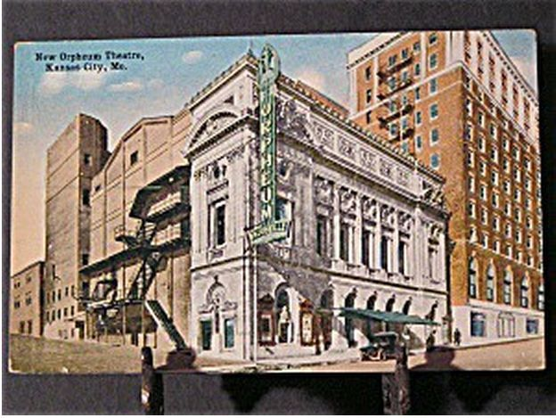 Vintage Postcard Of The New Orpheum Theatre Kansas City Mo Now Demolished Showing A Large Sign Outside The Building With Vaudeville Below The Orpheum