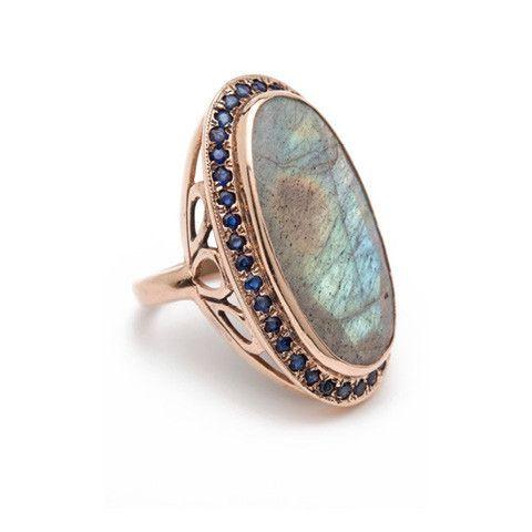 Arik Kastan Vintage Rose Gold Cocktail Ring with Labradorite and
