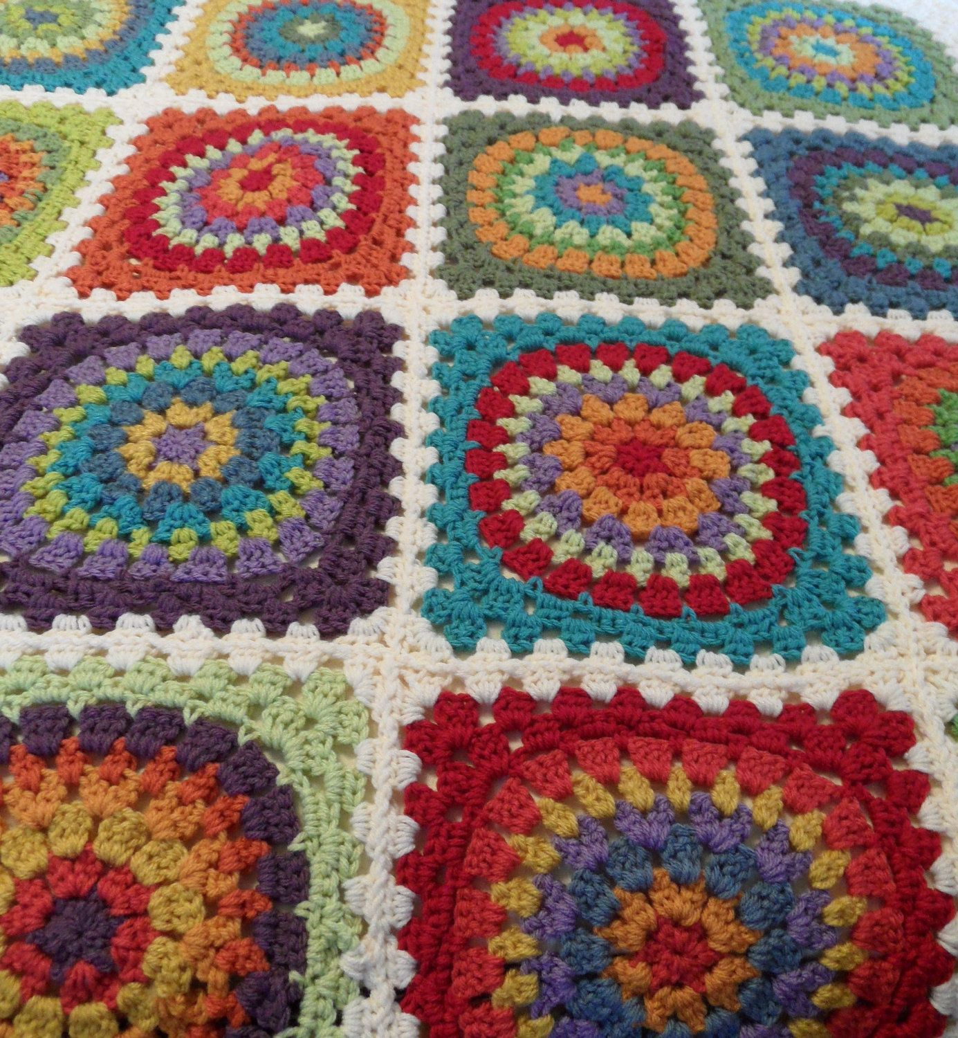 Colorful Handcrocheted Granny Square Blanket | Living room ...