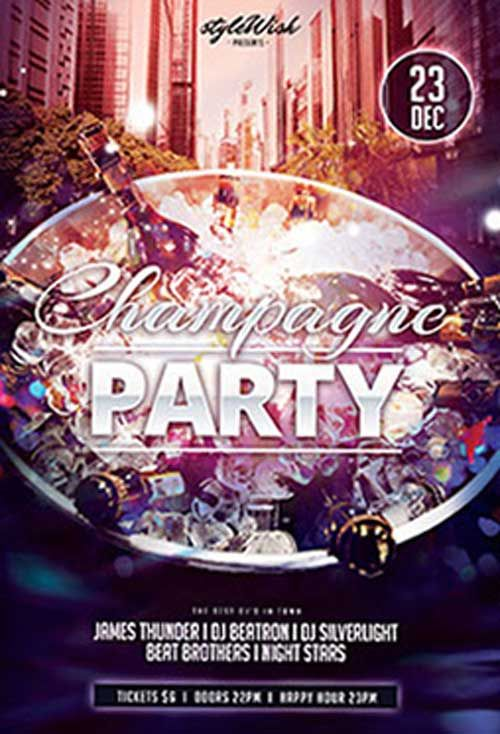 Champagne Party Free Psd Flyer Template  HttpFreepsdflyerCom