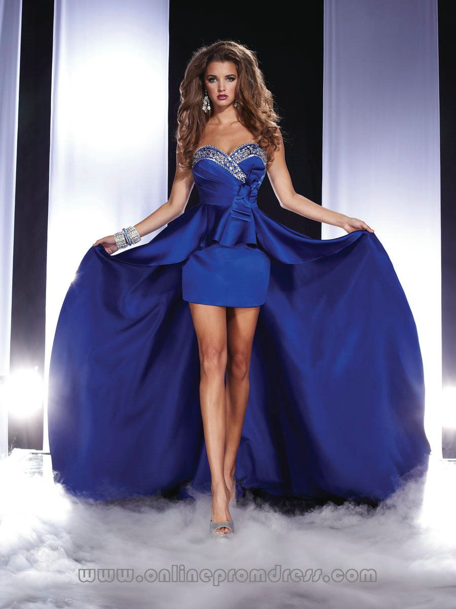 Sweeart Dark Royal Blue Bead Trim High Low Prom Dresses UK on sale ...