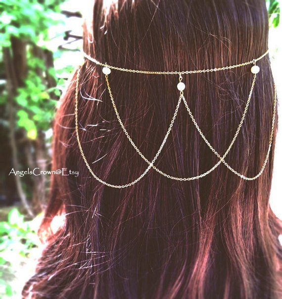 Pearl Hair Chain Silver Headpiece Jewelry Head Chain Hair boho wedding beach wedding bride bridal ha #hairchains