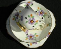 Hand Painted Trio, Plant Tuscan Bone China Art Deco Teacup Saucer and Side Plate