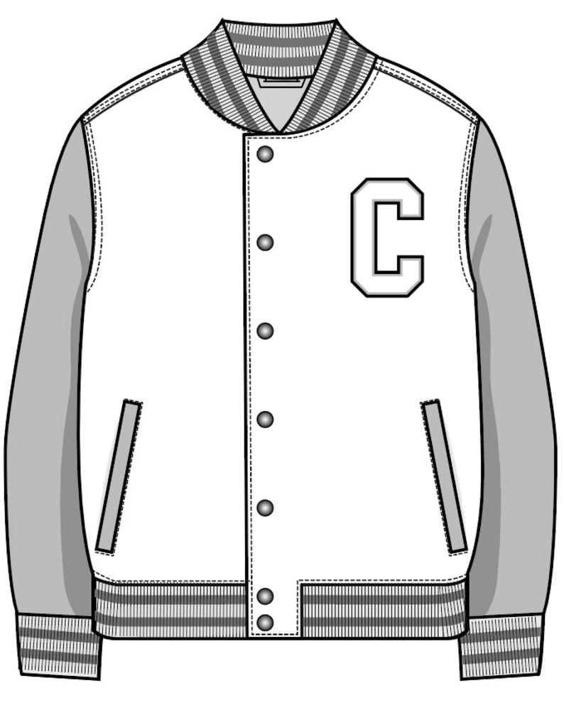 Vector Varsity Jacket Svg Flat Sketch Digital Download For Etsy Clothing Design Sketches Jacket Drawing Illustration Fashion Design [ 993 x 794 Pixel ]