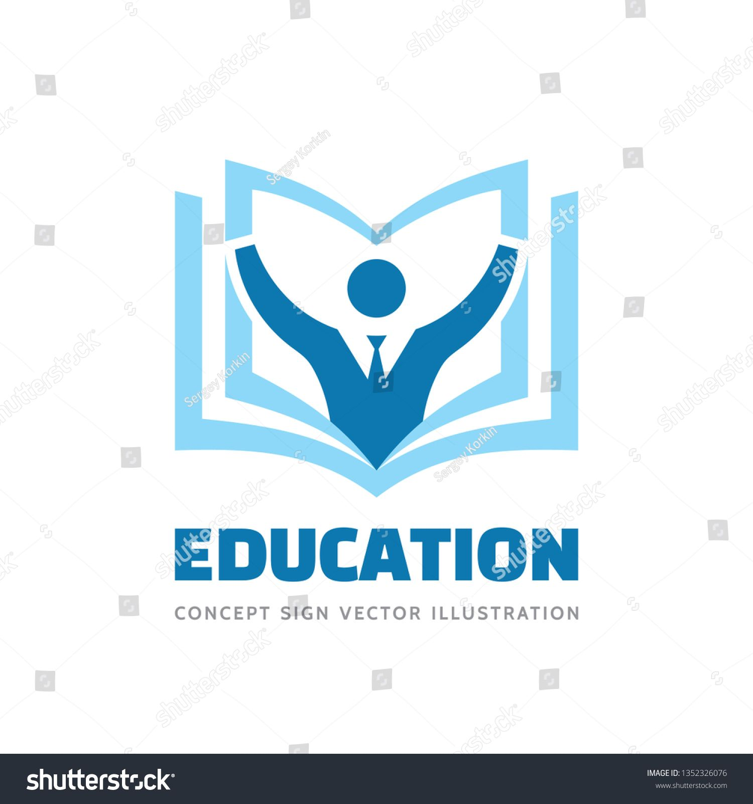Education Vector Logo Template Concept Illustration In Flat