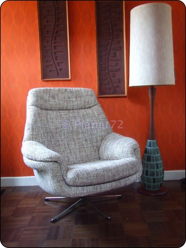 Retro Vintage 70s 80s Danish Swivel Lounge Armchair Chair Ebay